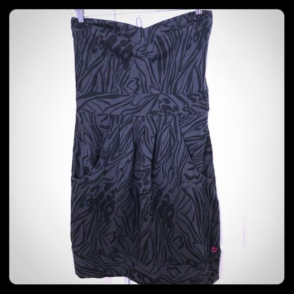Billabong Dresses & Skirts - Billabong Tube Dress dark gray / Black leopard